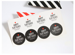 Wholesale sticker happy birthdays - Heart decoration black white HAPPY BIRTHDAY gift package decorative sticker DIY seal label favors party supply