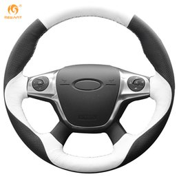 Wholesale Ford Kuga - Mewant White Black Genuine Leather Car Steering Wheel Cover for Ford Focus 3 2012-2014 KUGA Escape 2013-2016