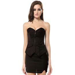 Envío gratis más el tamaño de las mujeres de moda traje corsé vestido corsé formal en la oficina para damas Bustiers de rayas negro adelgazamiento corsés 0801 desde fabricantes