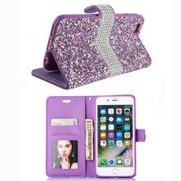 Wholesale Wholesale Flip Rhinestone Cases - Luxury Beautiful Fully Diamond Wallet Bling Bling Flip Case For iphone 7 6s 6 plus Opp Bag
