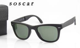 Wholesale Frame Hinges - 4105 Folding Sunglasses Brand Designer Sunglasses for Man Woman UV400 Metal Hinge Flash Mirror Lenses 50mm 54mm with Folding Case Box