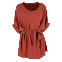 Wholesale Tunic Sale Women - Wholesale- European Ladies Cloth Women Cotton Linen Tunic Shirt V Neck Loose Shirt Summer Tops With Belt Plus Size 5XL New Sale