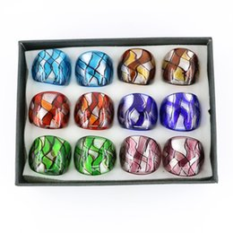Wholesale Silver Murano Rings - Fused Glass Rings Dichriol Silver Foil Lampwork Murano Glass Rings Made By Hand 12pcs pack MC1002
