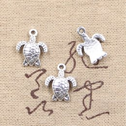 Wholesale Tibetan Silver Tortoise Charms Pendants - Wholesale- 99Cents 12pcs Charms turtle tortoise sea 15*12mm Antique Making pendant fit,Vintage Tibetan Silver,DIY bracelet necklace