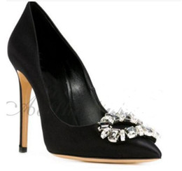 Wholesale Diamond Sewing Buttons - 2017 new women point toe pumps rhinestone stud pumps party shoes black leather diamond pumps sexy button wedding shoes ladies