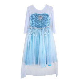 Wholesale Costumes Gowns - Girls Frozen princess gown dress sequins cape long sleeve dress Lace splicing outfits photo props costume for 5-10T