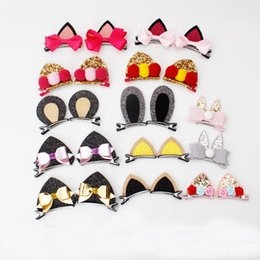 Wholesale Clip Bunny Ears - Everweekend Baby Girls Cartoon Bunny Cat Ears Bow Hair Clips Hairpins Princess Sweet Kids Multi Color Fashion Hair Accessories