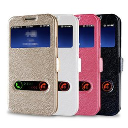 Wholesale Iphone 5s Flip Window - For Samsung S8 Case New View Window Leather Flip Cover For iPhone 5 5S 6 7 Samsung S6 S7 edge Cellphone