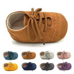 Wholesale Autumn Threads - Baby Moccasins Lace-up Thread Baby Prewalker Casual Shoes Suede Anti-slip Soft Sole Infant Moccasins Infant Walking Shoes