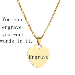 Wholesale 14k gold figaro chain - New Romantic Customized Engrave Stainless Steel Love Couples Necklace 18K Gold Plated Blank Heart Shaped Pendant Personalized Necklace