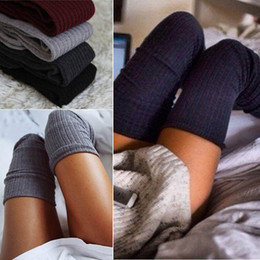 Wholesale Browns Fashion Uk - Wholesale- UK Ladies Warm Knit Cable Knit Knitted Crochet Socks Thigh-High Winter