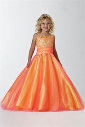 Wholesale Lowest Price Gown Sale - Lower Price of Amazing Ball Gown Floor-length Sleeveless Straps Lace-up with Sequins Girls Pageant Dresses on sale