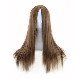 Wholesale Wigs Long Blonde - WoodFestival women wigs long straight carve hairstyle wig blonde heat resistant synthetic wigs black natural cheap hair wig fiber