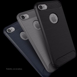 Wholesale slim armor cases - Luxury Slim Armor Case for iPhone 7 7 Plus 6 5S SE galaxy S8 S7 edge huawei P9 Lite Carbon Fiber Texture Brushed TPU Soft Back Cover