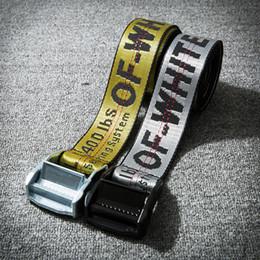Wholesale Hip Belts - OFF WHITE Belts Men Extend Long 200CM Long Fashion Yellow Belt Women Hip hop Streetwear Skateboards Virgil Abloh Industrial Man