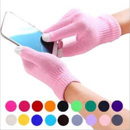 Wholesale Gloves For Mobile - Touch Screen Gloves Capacitive Screen Conductive Glove Men Knit Wool Mitten Winter Warm Gloves Female Gloves For Mobile Phone iPad B2273