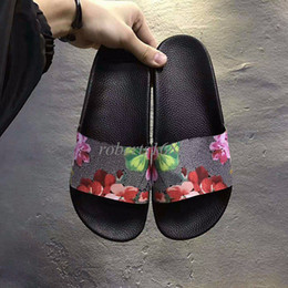 Wholesale Womens Flower Flat Sandals - new arrival 2017 mens and womens fashion flower printing leather slip-on slide sandals unisex size euro 35-45