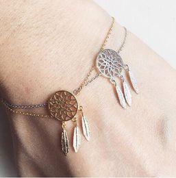 Wholesale Dream Bracelets - New Fashion Gold Silver Plated Dreamcatcher Charm Bracelets For Women Dream Catcher Jewelry 18K Gold and Silver Plated Dreamcatcher Chain Br
