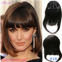 Wholesale Clip Hair Light Brown - 2017Human Hair Bangs Fringe With 3 Clips In Human Hair Extensions 25g Only One Piece free shipping