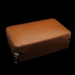 Wholesale Cedar Cigar Case - Newest Smoking Accessories Tobacco Travel Case 4 Count Cedar Tubes Cigarette Humidor COHIBA Brown Leather Cedar Wood