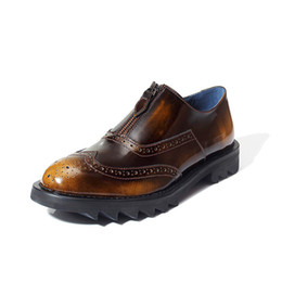 Wholesale Business Dress Tips - US Size Retro Men Brogue Shoes Genuine Leather Round Toe Zipper Wing Tips Carved Oxfords Business Man Dress Shoes Thick Heel Shoes