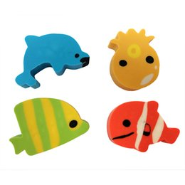 Wholesale Cute Design Pencils - 4 pcs bag Lovely Cartoon Eraser Cute Animals Fish Shape Rubber Correction Erasers Student Stationery School Supplies Kids Gift