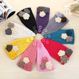 Wholesale Crochet Wide Headband Flower - Women's Fashion Wool Crochet Headband Knit Turban Hair Band Flower Winter Wide Ear Warmer Head Wrap Hairband Hair Accessories ZA1445