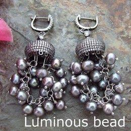Wholesale Black Pearl Chandelier Earrings - FC100614 4-5MM White Black Round Pearl Earrings CZ Fitting