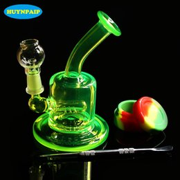 Wholesale Mini Water Filters - Colored mini pipe glass bong Water pipe Bongs Recycler Filter Percolators Smoking nails jiont 10MM Height 13cm