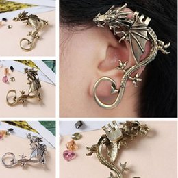 Wholesale Game Thrones Ear Cuff - Punk Dragon Shaped Earrings Clip Alloy Dragon Ear Cuff Clip On Earrings Game Of Thrones Jewelry CC544