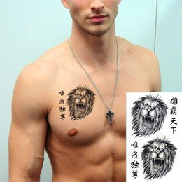 Wholesale Chinese Body Tattoos - Wholesale-25 style Chinese Temporary Tattoo Body Art, Lion Growl Designs, Flash Tattoo Sticker Keep 3-5 days Waterproof 17*10cm