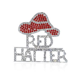 Wholesale Theme Pins Wholesale - Wholesale- Rhinestone Red Hat Theme Brooch Pins Jewley for Red Hatter Ladies FREE SHIPPING