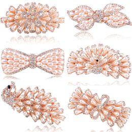 Wholesale Butterfly Crystal Hair Clip - Women Girls Crystal Rhinestone Pearl Flower Butterfly Barrette Hair Clip Hairpin