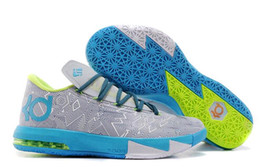 Wholesale Cheap Kevin Durant Vi - New KD 6 VI Grey Blue Fluorescent Green Mens Basketball Shoes Men Cheap Kds KD6 Kevin Durant Sneakers For Sale Size 7-12