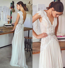 Wholesale Lined Chiffon Skirt - Lihi Hod 2017 Bohemian Wedding Dresses Cap Sleeve V Neck with Lace Appliques Floor Length Summer Beach Bridal Gowns Chiffon Skirt Custom