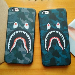 Wholesale Defender Plastic Case For Iphone - 3D cartoon phone case cases for iphone7 iphone 7 6 6S plus 5S hard PC defender case camouflage shark protector case GSZ165