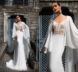 Wholesale Design Strapless Satin Wedding - 2017 New Design White V Neck Mermaid Wedding Dresses With Long Cape Vintage Lace Appliques Covered Button Back Floor Length Bridal Gowns