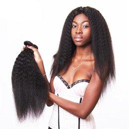 Wholesale Kinky Straight Hair For Weaving - 3PCS virgin indian human hair 1b kinky straight high quality hair weft for black women free shipping
