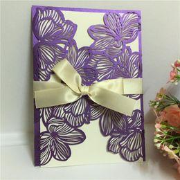 Wholesale Pocket Invitation Envelopes - Hot selling Laser Cut Wedding Invitations Pocket Hollow Out Groom Bride Elegant Invitation Cards with Envelope inserts Wholesale price