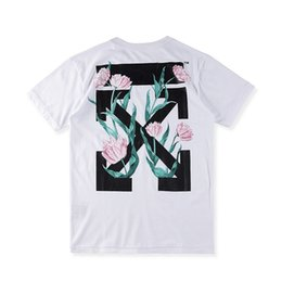 Wholesale Off Black Weave - 17 off WHITE, spring, summer, OW arrows and tulips printed woven cotton short sleeve T-shirt black, white S--XL