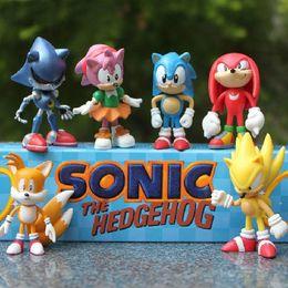 2019 uniformi di combattimento militare nero Spedizione gratuita 3 pollici 7 cm SEGA Sonic the Hedgehog Figure Toy giocattolo in PVC Sonic Personaggi figura giocattoli brinquedos Bambola 6 pz / set