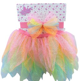 Wholesale Toddlers Rainbow Dress - Baby Girl Dress Rainbow Color Bling Tutu Toddler Clothing Headband Set Kid Infant Outfits For Summer