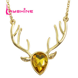 Wholesale Party Animal Head Costume - Luxury Gold Color Long Chain with Colorful Crystal Costume Jewelry Deer Head Pendant Necklace Female Accessories