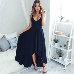 Wholesale Short Black Chiffon Party Dress - Sexy V Neck Black Chiffon Homecoming Party Gowns Short high low Evening Party Dresses sweet short prom dresses Bridesmaid Dress custom made