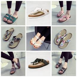 Wholesale Women Summer Shoes Wholesale - Flip Flops Summer Cork Slipper Woman Flats Sandals Antiskid Slippers Beach Shoes Casual Cool Slipper 19 Colors 2pcs pair OOA1669