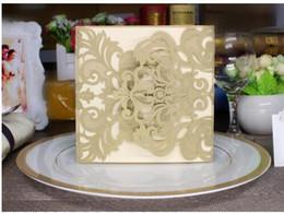 Wholesale Cheap Gold Invitations - Wholesale- wholesale 100Pcs 2016 NEW gold Bridal Party Cards Unique Event & Party Supplies Flora Cheap Laser Cut Wedding Invitations usa
