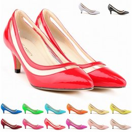 Wholesale Heel Less Platform Pumps - Sexy Pointed Toe Middle Heels Women Pumps Shoes Brand New Design Less Kitten Heels Platform Pumps 11 Colors Women US Size 4-11 D0013