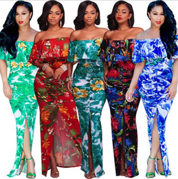 Wholesale Cheap Mermaid Maxi Dress - 2017 Hot Bohemian Maxi Rompers Long Casual Summer Printing Dresses Cheap Plus Size Printed Chiffon Dresses Halter Neck Sexy Backless Split