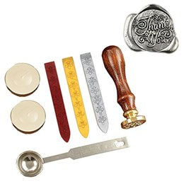 Wholesale Thank Stamps - Retro Wax Seal Stamp Kit Vintage Letter   Envolop Wax Sealing Set with Gold Red Silver Sticks (Thank you)