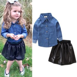 Wholesale Leather Baby Shirt - Ins Baby Girls Clothes Set Kids Denim Shirt + PU Leather Skirt 2pcs Clothing Suit Children Outfits 13534